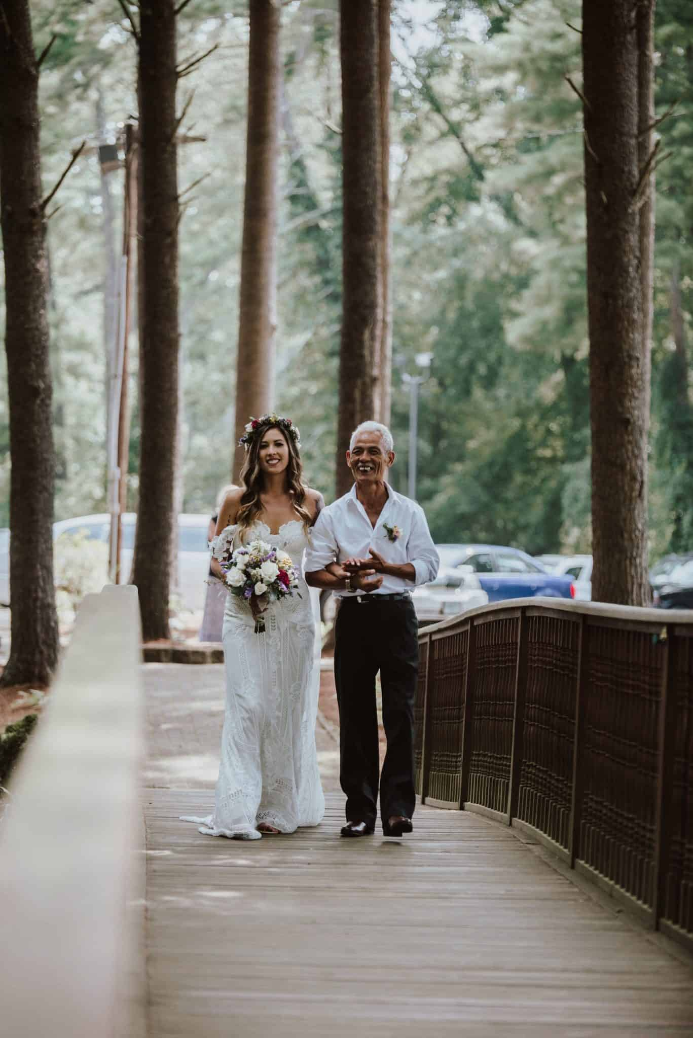 Crossing over our 75 foot bridge and on the other side, awaits your groom at the gazebo, which is nestled among our shady pine grove, a perfect natural setting for the ceremony you've always dreamed of.